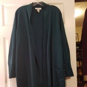 Open front teal cardigan